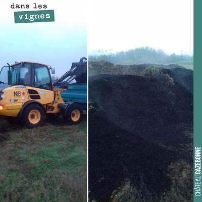 On charge nos derniers tas de composts pour étendre sur notre parcelle de Cazebonne. L'hiver fera...