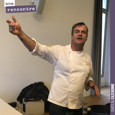 Chef Damien en démonstration culinaire à la Fondation Goodplanet.