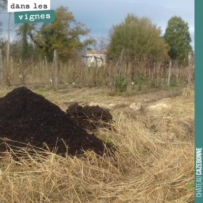 Ce tas de compost nous sera bien utile au jardin des vignes pour amender les sols en prévision du...
