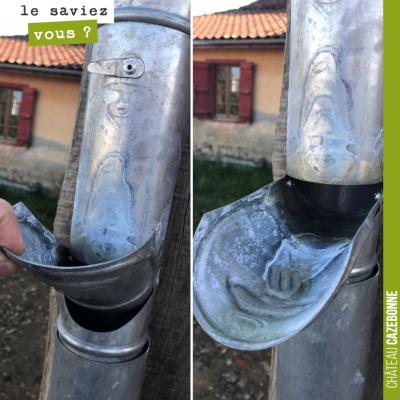 Céline Oulié (Madiran) a mis au point un ingénieux système pour récupérer les eaux de pluie en vu...