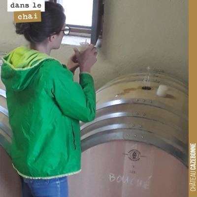 Marion à la manœuvre pour contrôler tous les jours comment avancent les fermentations sur les bla...