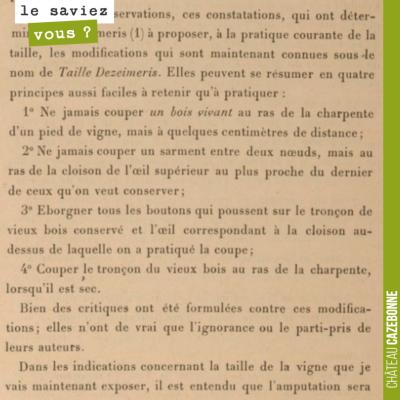 Description de la taille Dezeimeris en 1892. Déjà les principes de la taille douce et du respect ...