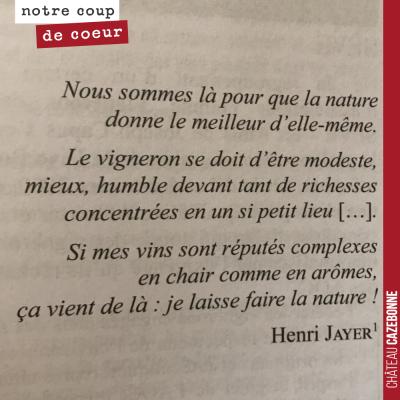 Texte de Henri Jayer, cité par François Morel dans Le vin au naturel.