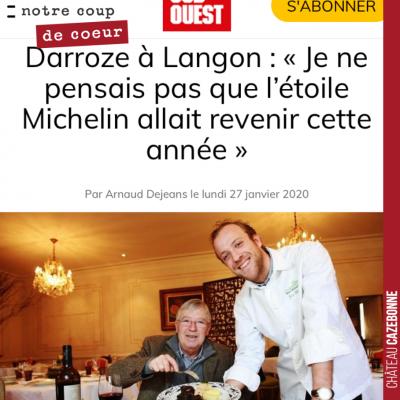 Excellente nouvelle pour Langon que cette étoile Michelin retrouvée par le restaurant Claude Darr...