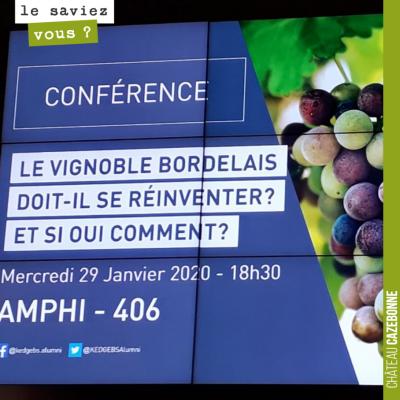 David assiste à la conférence organisée par Kedge sur les défis qui attendent le vignoble bordela...