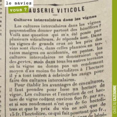 Magnifique texte de Jean Elie en 1901, qui s'interroge sur la pertinence de faire des cultures in...