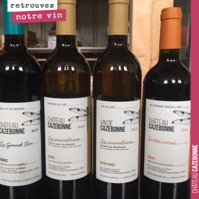 Toute la gamme des vins de Cazebonne, au Luxembourg.