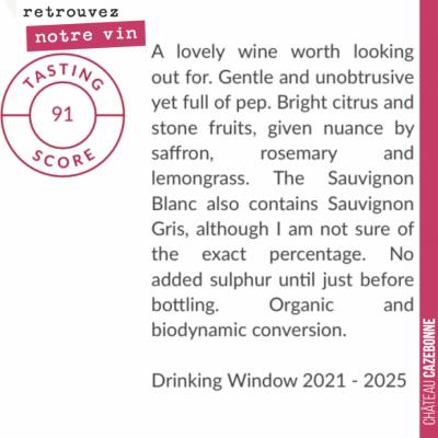 Jolie note pour notre Grand Vin 2020, Graves blanc dans le magazine Decanter, dégusté par Jane An...